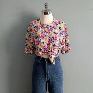 vintage 90's silk color block blouse