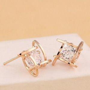 Jewelry - Hollow square zircon gold stud earrings