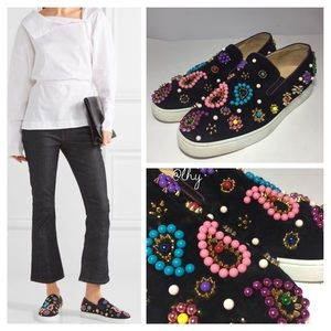 LOUBOUTIN CANDY EMBELLISHED SLIP ON SNEAKERS