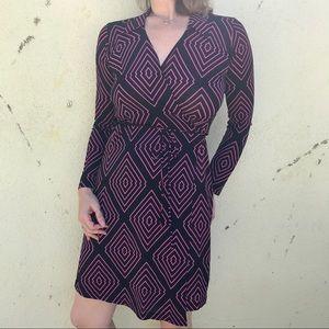MCM Dresses & Skirts - 🎈4/$25 Black WRAP DRESS pink MIDI stretch M