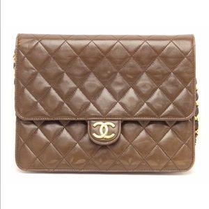 Chanel lambskin brown cc Logo single chain bag
