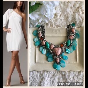 """""""Antonia"""" Turquoise Shell Statement Necklace"""