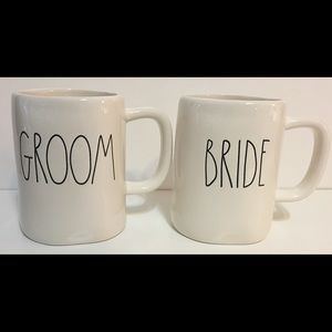 Rae Dunn Large Letter BRIDE and GROOM mugs
