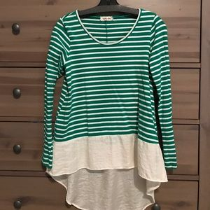 Anthropologie Tops - Anthropologie green and white striped top