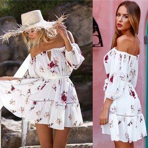 """Dresses & Skirts - """"Sorrento Floral Off Shoulder"""" White Dress"""