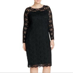 Vince Camuto Black Lace Scallop Hem Dress