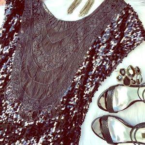 Dresses & Skirts - boho glam LBD w/ crochet low back XS, S, M