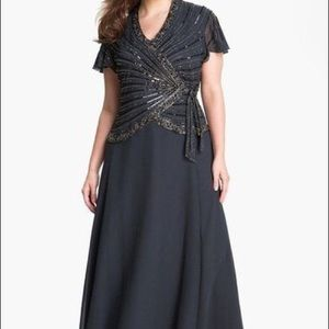 J KARA  Dresses & Skirts - 17323 Beaded Chiffon EMBELLISHED Mock Two Piece