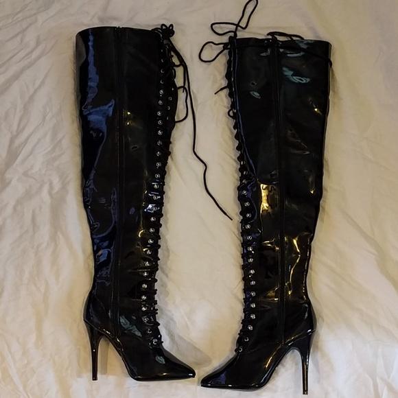 c5e09525098c Centerfolds Shoes - Centerfolds thigh high black pvc lace up boots