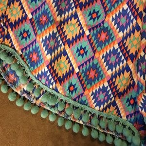 E2 Shorts - Boutique Blue Tribal Print Pom-Pom Shorts Small