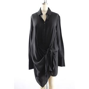 Black Front Tie Long Sleeve Shirt Dress