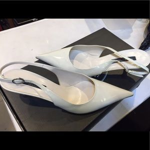 Sergio Rossi Shoes - Sergio Rossi White Patent Leather Slingbacks sz 39