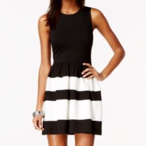 BAR III Fit & Flare Black White Dress - Size: XS