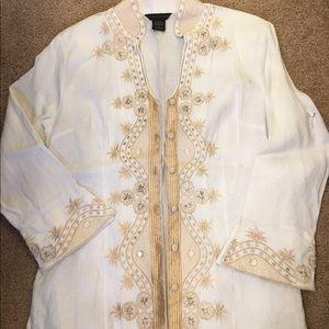 Anne Carson Tops - Anne Carson white linen blouse size small
