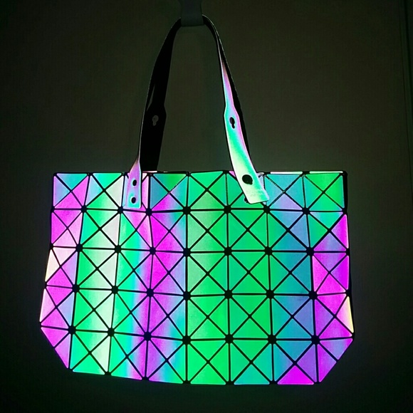 ee24f9dcd42f Reflective holographic geometric folding tote bag