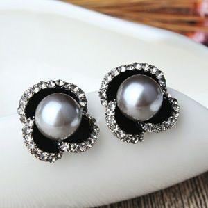 Jewelry - Crystal Black Pearl Petals Stud Earrings