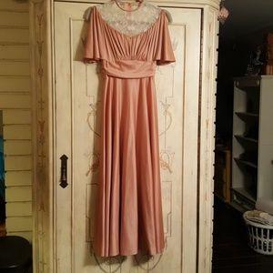 Vintage 70's mauve disco dress maxi