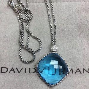 David Yurman Jewelry - David Yurman Cushion On Point Blue Topaz Necklace