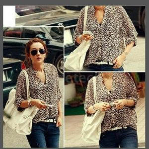 Tops - New Leopard print button up blouse sz L