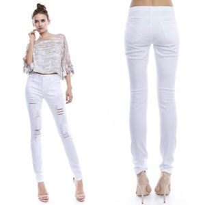 Queenstown Boutique Denim - White High Waisted ripped skinny jeans