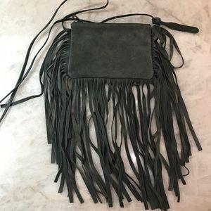 Topshop 100% Suede Dark Green Fringe Crossbody Bag