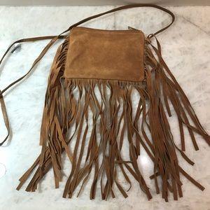 Topshop 100% Suede Camel/Tan Fringe Crossbody Bag