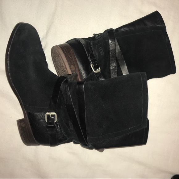 79 ugg shoes black leather and suede ugg boots from
