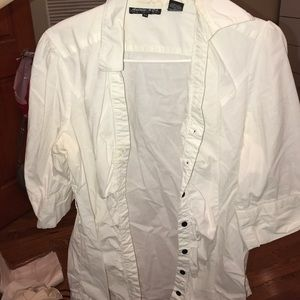 Andrew & Co Tops - White black button up