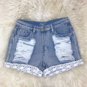 A'GACI Pants - Distressed White Crochet Cuffed Denim Shorts