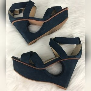 Dolce Vita Shoes - Dolce Vito Blue Suede Cutout Wedge Sandals