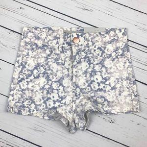 Topshop Moto White Floral Print Denim Shorts