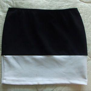 Color block bodycon mini pencil skirt