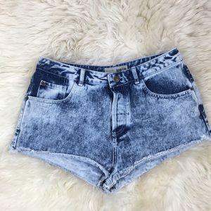 Topshop Pants - Topshop Moto Blue Acid Wash Cut Off Denim Shorts