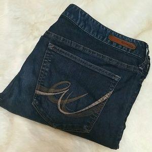 Express Denim - Express Dark Wash Barely Boot Bootcut Jeans Sz 14