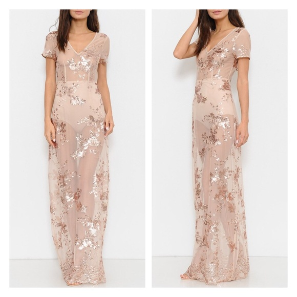 066d8117cc2f Dresses | Rose Gold Floral Sequin Dress | Poshmark