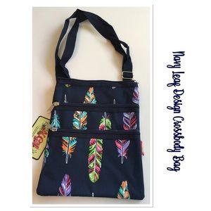 Navy Leaf Design Crossbody Bag