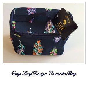 Navy Leaf Design Cosmetic Bag w/Brushes