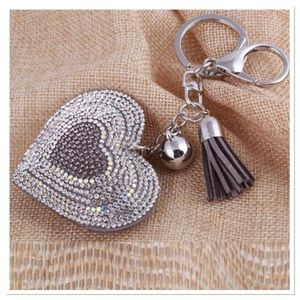 Boutique Accessories - Jeweled Puffed Heart Purse Charm / Keychain