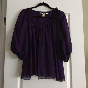 Diane von Furstenberg purple silk blouse