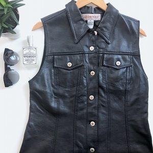 Highway Jeans Jackets & Blazers - Edgy Vintage Long Vegan Leather Vest