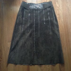 BCBCMAXAZRIA Collection Studded Suede Skirt Size 4
