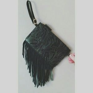 Handbags - New! Vegan Leather Fringed Wristlet