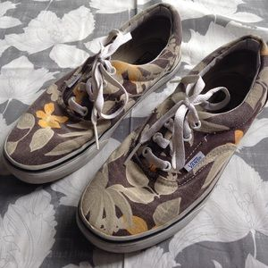 Vans Shoes - Vans brown tan yellow floral sneakers 7