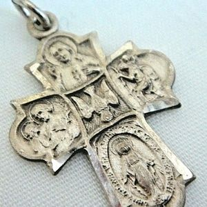 Vintage Sterling Catholic Cross Charm/by Chapel