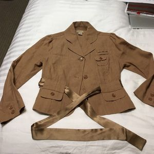 EUC Vintage Elevenses Military Linen Jacket