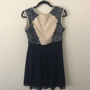 Little Mistress Dresses & Skirts - Nude and Blue Chiffon Dress