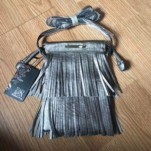 Handbags - NWT Pewter Fringe Crossbody