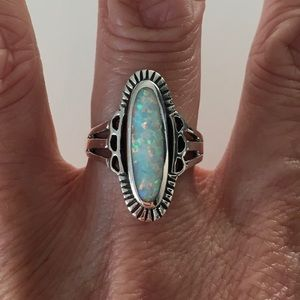 Jewelry - Sterling Silver Etched Oval White Lab Opal Ring