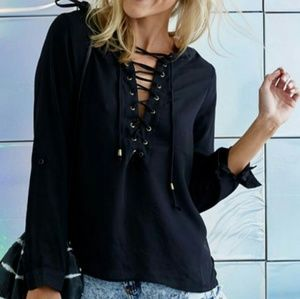 Choies Tops - Lace up chiffon top