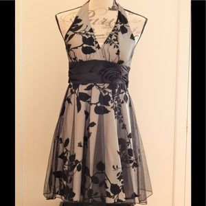 Speechless Black and Gray Floral Halter Dress Sz 5